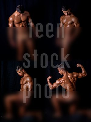 Bodybuilder shows great body and muscles